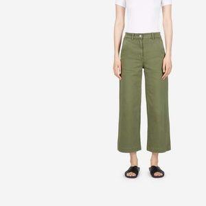 Everlane Wide Leg Crop Pants - Surplus (Green) 4